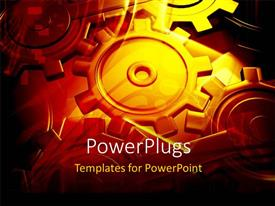 PowerPlugs: PowerPoint template with lots of gold colored industrial gears working together simultaneously