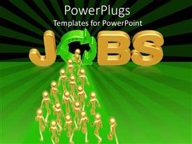 PowerPlugs: PowerPoint template with lots of gold colored people walking toward a text that spells out 'jobs'