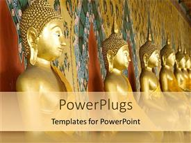 PowerPoint template displaying lots of gold colored statues of Buddha lined up