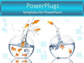 PowerPlugs: PowerPoint template with lots of gold fishes jumping from a fish to the other