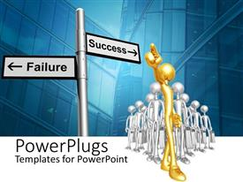 PowerPlugs: PowerPoint template with lots of gold and silver human figures following a Success/Failure sign post