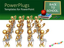 PowerPlugs: PowerPoint template with lots of golden characters with a text that spells out the words 'back to school '