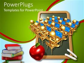 PowerPlugs: PowerPoint template with lots of golden characters wit an apple and books