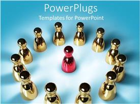 PowerPlugs: PowerPoint template with lots of golden figures forming a circle with a red one in the middle