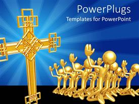 PowerPoint template displaying lots of golden human characters kneeling to a big cross