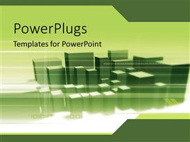 PowerPoint template displaying lots of green 3D buildings together over a white surface