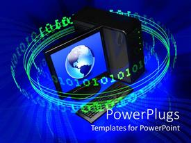 PowerPlugs: PowerPoint template with lots of green binary spinning round a globe in a computer