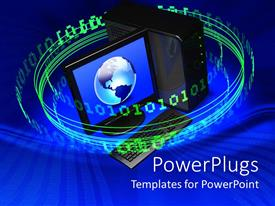 PowerPlugs: PowerPoint template with lots of green Colored Binaryspinning round a computer with a globe