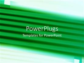 PowerPoint template displaying lots of green lines on a blurry white background