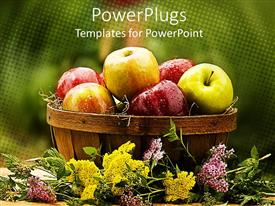 PowerPlugs: PowerPoint template with lots of green and red apples in a large brown bowl