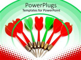 PowerPlugs: PowerPoint template with lots of green and white darts on a white background