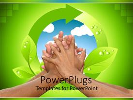 PowerPoint template displaying lots of hands clasped together with a recycle symbol behind