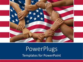 PowerPlugs: PowerPoint template with lots of hands holding each other over an American flag