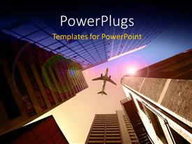 PowerPlugs: PowerPoint template with lots of high buildings with an airplane flying above them