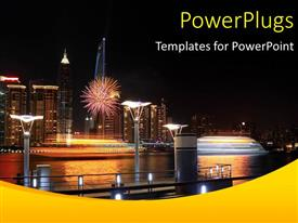 PowerPlugs: PowerPoint template with lots of high buildings with lights and a ship by the sea side