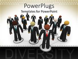 PowerPlugs: PowerPoint template with lots of human figures dressed cooperate standing on a white background