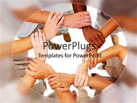 PowerPlugs: PowerPoint template with lots of human hands holding themselves in a bond