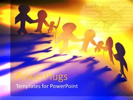 PowerPlugs: PowerPoint template with lots of human paper cut figures on a yellow background