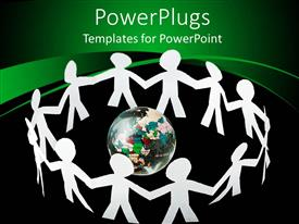 PowerPlugs: PowerPoint template with lots of human paper cut figures holding hands round an earth