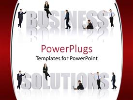 PowerPoint template displaying lots of humans sitting and standing on a business solutions text