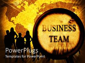 PowerPoint template displaying lots of humans standing akimbo with a gold shinning globe