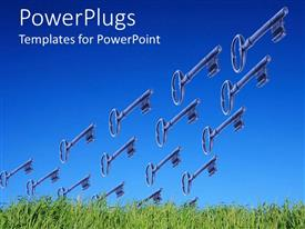 PowerPoint template displaying lots of keys flying in the sir over a grass field