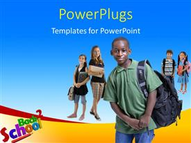 PowerPoint template displaying lots of kids with text that spell out the words