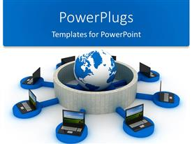 PowerPlugs: PowerPoint template with lots of laptops on a blue stand surrounding an earth globe