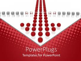 PowerPlugs: PowerPoint template with lots of large ed colored balls forming n arrow