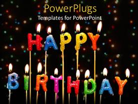 PowerPlugs: PowerPoint template with lots of lit multi colored candles that spell out the words 'happy birthday'