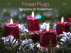PowerPlugs: PowerPoint template with lots of lit purple colored candles on a grass field