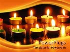 PowerPoint template displaying lots of lit small candles arranged in two row