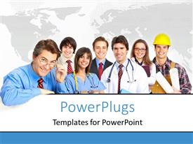 PowerPlugs: PowerPoint template with lots of men and women in different occupation attires smiling