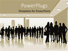PowerPlugs: PowerPoint template with lots of men and women standing together in clusters