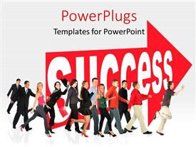 PowerPlugs: PowerPoint template with lots of men and women walking with a success arrow beside them