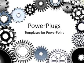PowerPlugs: PowerPoint template with lots of metallic gears on a white colored background