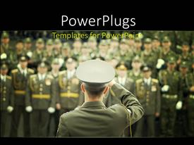 PowerPoint template displaying lots of military officials in on a blurry background with a leader saluting