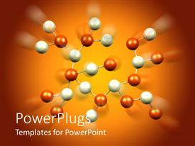 PowerPoint template displaying lots of molecules with orange and white colored codes