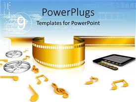 PowerPoint template displaying lots of movie and musical entertainment elements on a whit background