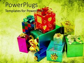 PowerPlugs: PowerPoint template with lots of mufti colored gift bags on green background