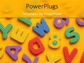 PowerPoint template displaying lots of multi colored alphabets on a yellow background