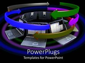 PowerPlugs: PowerPoint template with lots of multi colored arrows spinning round  open laptops