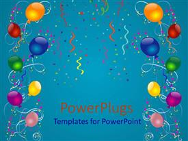 PowerPlugs: PowerPoint template with lots of multi colored balloons and ribbons on a blue colored background
