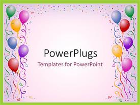 PowerPoint template displaying lots of multi colored balloons and ribbons on a white background
