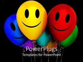PowerPlugs: PowerPoint template with lots of multi colored balloons with smiley faces on them