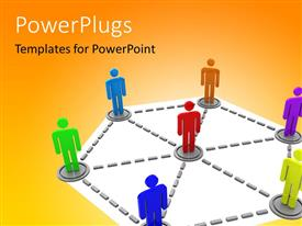PowerPlugs: PowerPoint template with lots of multi colored characters standing on an interconnected board