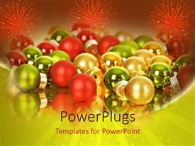 PowerPoint template displaying lots of multi colored Christmas balls with three sparks of fireworks
