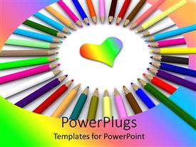PowerPlugs: PowerPoint template with lots of multi colored color pencils arranged in a circle
