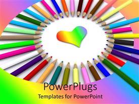 Presentation design having lots of multi colored color pencils arranged in a circle