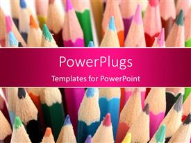 PowerPlugs: PowerPoint template with lots of multi colored color pencils stacked up together